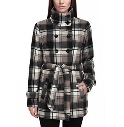 Ike Behar Ladies' Fleece Jacket Tan Plaid ( (Double Breasted Belted Plaid Coat)