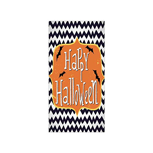 Decorative Privacy Window Film/Cute Halloween Greeting Card Inspired Design Celebration Doodle Chevron Decorative/No-Glue Self Static Cling for Home Bedroom Bathroom Kitchen Office Decor Indigo White]()