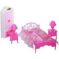 AchidistviQ 4pcs Enfants Fille Maison de Jeu poupée Chambre à Coucher Lit Lampe de Table Armoire Accessoires Jouet