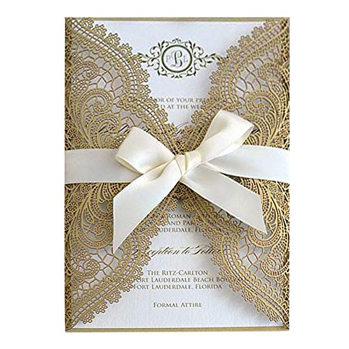 Picky Bride Gold Lace Wedding Invitations Suite Elegant Laser Cut Invitation Wedding Cards – Set of 50 pcs (Blank Invitations)