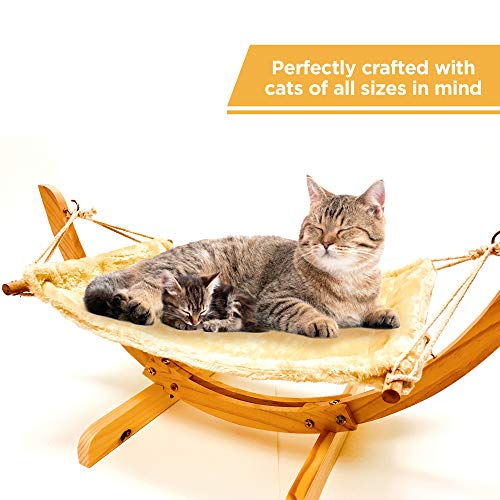 Wooden Hammock Bed For Cats | Modern Fancy & Cute Kitten Shelf | Comfortable Elevated Pet Stand For Dog, Cat, Ferret, Rat, Puppy Or Any Small Animal | Hammocks Wood Frame | Pets Best Raised Nest