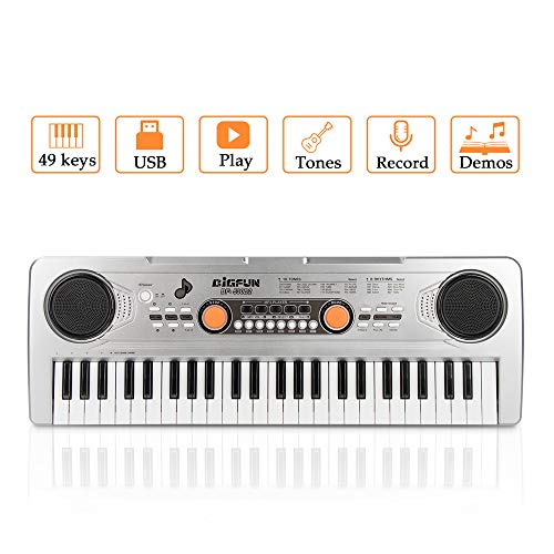 Keyboard Piano, JINRUCHE 49 Keys Multi-function Kids Electronic Piano Educational for Student Kids Children with Microphone (Silver)