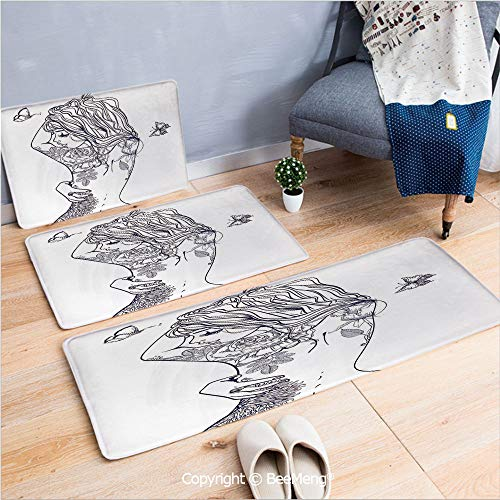 3 Piece Indoor Modern Anti-Skid Carpet Printed Block Bathroom Carpet,Cute Girls,Young Girl with Tattoos and Butterflies Free Your Soul Inspired Long Hair Feminine,Purple White,20x31/20x59/28x55 inch