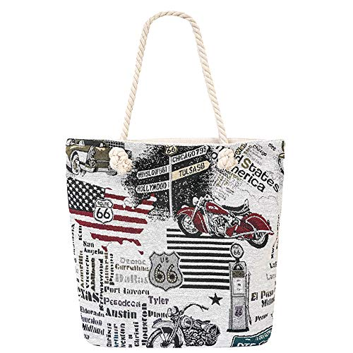 Large Beach Travel Canvas Tote Cute Shoulder Shopping Bag, - Canvas Bag Pattern Tote