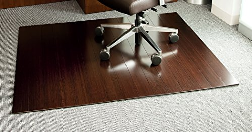 Anji Mountain Deluxe Natural Fiber Wooden Slat Roll-Up Chairmat without Lip, Dark Cherry, 60 x 48-Inch by Anji Mountain