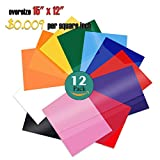 PowerPress Heat Transfer Vinyl Bundle - Iron on Vinyl for Cricut & Silhouette Cameo - 15 x 12 Inches 12 Pack in Assorted Colors Vinyl Sheets
