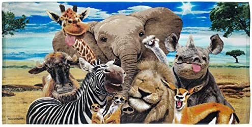 home, kitchen, bath, towels,  beach towels 9 picture Dawhud Direct Safari Animals Selfie Super Soft Plush deals