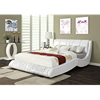 ACME Acacia Ivory Faux Leather Queen Bed