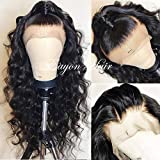 Eayon Hair Brazilian Remy Lace Front Wigs Human Hair Loose Curly Hair Lace Wigs with Baby Hair for Women 130% Density Natural Color 20 inch