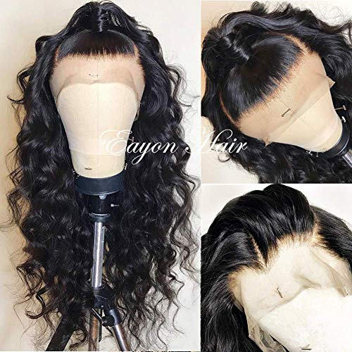 Brazilian Remy Lace Front Wigs Human Hair Loose Curly Hair Lace Wigs with Baby Hair for Women 130% Density Natural Color 18 inch