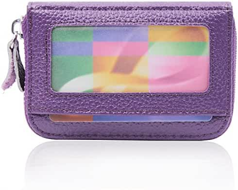 RFID Blocking Genuine Leather Zip Around Accordion Credit Card Holder Wallet with ID Card Window