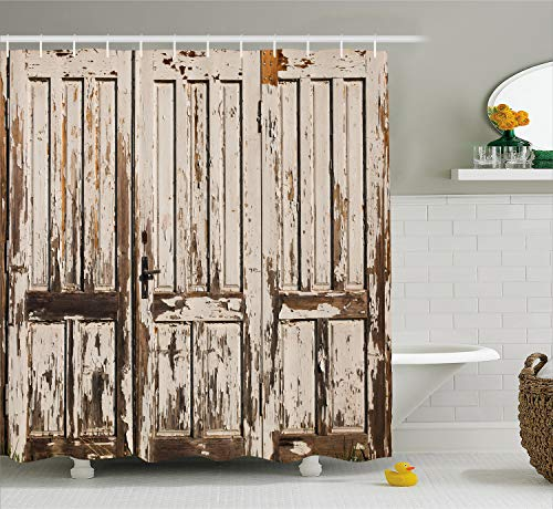 Ambesonne Rustic Shower Curtain, Vintage House Entrance with Vertical Old Planks Distressed Rustic Hardwood Design, Fabric Bathroom Decor Set with Hooks, 75 Inches Long, Brown White