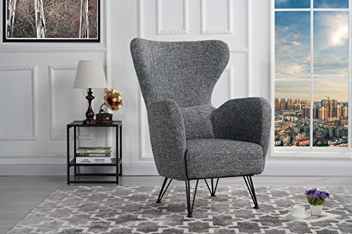 Mid Century Modern Linen Fabric Accent Armchair With