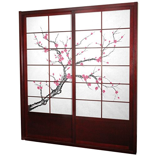 Oriental Furniture 7 ft. Tall Cherry Blossom Shoji Sliding Door Kit - Rosewood
