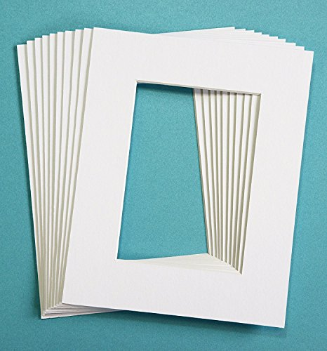 Pack of 10 WHITE 8x10 Picture Mats Matting with White Core Bevel Cut for 5x7 (Photo Mat)