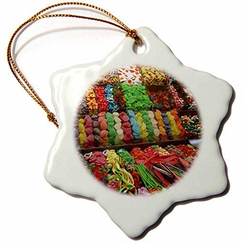 3dRose orn_82562_1 Spain, Barcelona, La Rambla, Market Candy-Eu27 Cmi0017-Cindy Miller Hopkins-Snowflake Ornament, 3-Inch, Porcelain by 3dRose