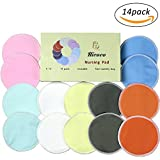 Organic Bamboo Nursing Pads,Maternity Bra Pads, Breastfeeding Pads, Pack Of 14, Soft & Super absorbent, Reusable & Washable,Leak-proof,With Laundry Bags