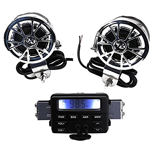 BADASS SHARKS New 12V Waterproof ATV Motorcycle Motorbike Scooter Audio System Handlebar FM MP3 Stereo Speaker Audio Sound System AUX Input 2 Speaker for Cruiser Biker Chopper Cafe Racer ATV