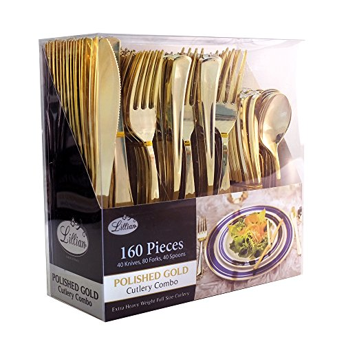 Lillian Tablesettings 37283 Plastic Cutlery Silverware Extra Heavyweight Disposable Flatware, Full Size Cutlery Combo, Polished Gold, 80 Forks, 40 Spoons, 40 Knifes, Value Pack 160 Count -