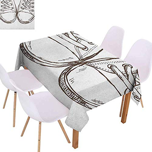 Brown Footwear Smooth - Marilec Elegance Engineered Tablecloth Doodle Sneakers in Hand Drawing Style Casual Footwear Teenager Urban Lifestyle Theme Soft and Smooth Surface W70 xL102 Dark Brown White