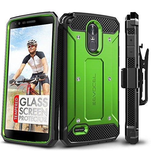 LG Stylo 3 Case, Evocel [Explorer Series] with Free [LG Stylo 3 Glass Screen Protector][Full Screen Coverage] Premium Full Body Case [Slim Profile][Belt Clip] for LG G Stylo 3 (2017 Release), Green