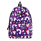 SWYIVY Purple Rainbow Unicorn Printing Student Laptop Backpack for...