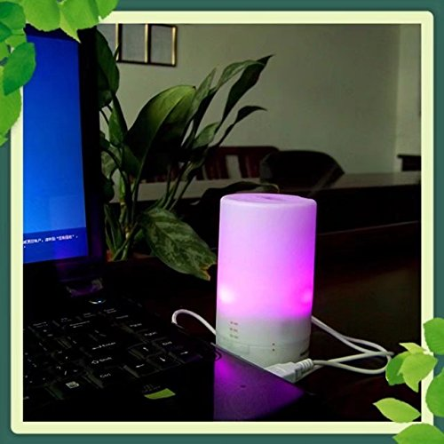 BoNew Mini Portable Ultrasonic Cool Mist Aroma Humidifier Car/USB Series 50ml Aromatherapy Essential Oil Diffuser for Bedroom,Yoga,Spa and - Cyan Ion