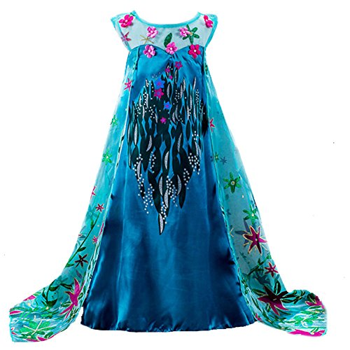 [Moon Kittty Girls Snow Queen Elsa Party Dress Costume Princess Cosplay Dress Up] (Sexy Sequin Kitty Costumes)