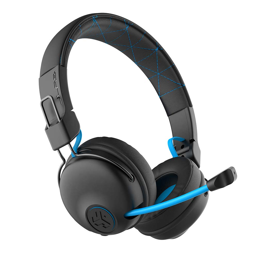 JLab Audio Play Gaming Wireless Headset AUX Gaming Cord Compatible with Gaming Consoles 22+ Hour Bluetooth 5 Playtime 60ms Super-Low Latency for Mobile Gameplay Retractable Boom Mic