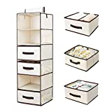 StorageWorks Hanging Closet Organizer, Foldable Closet Hanging Shelves With Drawer, Polyester Canvas, Natural, 6-Shelf