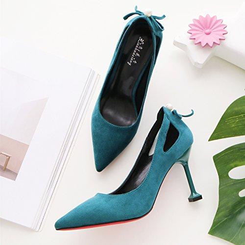 zapatos Mujeres ocho centímetros salvajes de con singles gato Professional negro zapatos femeninos fino alto Esmeralda 34 en tacón de 55nFTW4