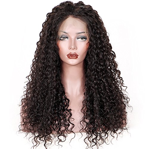 KUN Hair Brizilian Virgin Human Hair Kinky Curly 360 Full Lace Frontal Wigs with Baby Hair Soft Curly 360 Full Lace Wigs 150% High Density for Black Women 18 Inches Natural Color Make Full Lace Wig