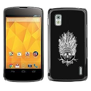GOODTHINGS Funda Imagen Diseño Carcasa Tapa Trasera Negro Cover Skin Case para LG Google Nexus 4 E960 - India nativa americana negro sombrero