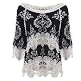 Sunbona Women's Sexy Lace Patchwork Half Sleeve Blouse Casual Ladies Beach Smock T Shirt Tops (Asian Size:XL, Black)