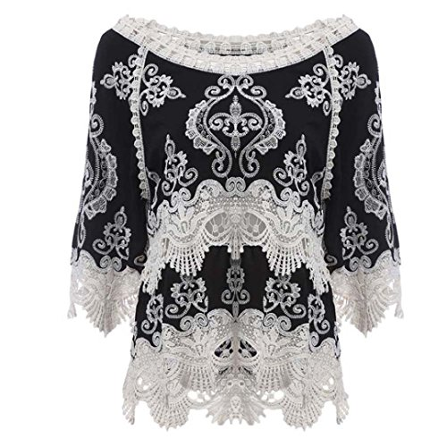 Sunbona Women's Sexy Lace Patchwork Half Sleeve Blouse Casual Ladies Beach Smock T Shirt Tops (Asian Size:XL, Black) by Sunbona