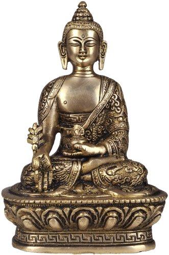 Bhaishajyaguru – The Medicine Buddha Robes Decorated with Auspicious Symbols – Brass Statue