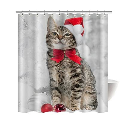 gwein animals christmas funny cat home decor shower curtain polyester fabric mildew proof waterproof cloth shower - Cat Curtains