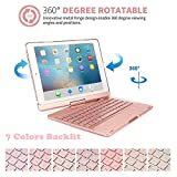 iPad Air 2 Case with Bluetooth Keyboard,elecfan Bluetooth Wireless 7 Color Backlit Keyboard Case 360 Rotating Stand Cover Auto Sleep & Wake Smart Folio Protective Cover for iPad Air 2 - Rose Gold