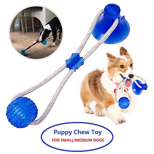 Dog Chew Toys Pet Supplies, Self-Playing Rubber Ball Rope Toy Suction Dog Toy Puppy Teething Toys Interactive Dog Toys…