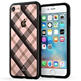True Color Case Compatible with iPhone 7 Case, Plaid iPhone 8 Case, Diagonal Plaid Design Printed on Clear Hybrid Cover Hard + Soft Slim Durable Protective Shockproof TPU Bumper - Black