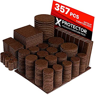 X-PROTECTOR Premium HUGE PACK Felt Furniture Pads 357 pcs! HUGE QUANTITY of Felt Pads Furniture Feet with MANY BIG SIZES –Your IDEAL Wood Floor Protectors. Protect Your Hardwood & Laminate Flooring!