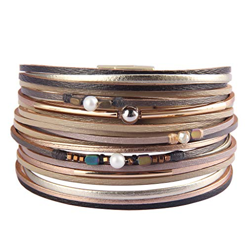 TASBERN Womens Leather Cuff Bracelets Multi Strands Layered Cuffs Boho Gold-Plated Crescent Seeds Metallic Bangle Bracelets Gift for Women Teen Girls Sister Mum Beige