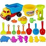 Beach Toys 21pcs, Petforu Children's Sand Art Kits Kids Toy Set for Summertime Pools & Water Fun