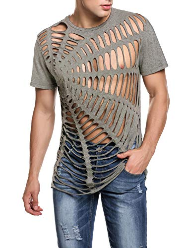 COOFANDY Men's Hipster Hip Hop Gothic Clothing Crewneck Cutout Fashion T Shirt