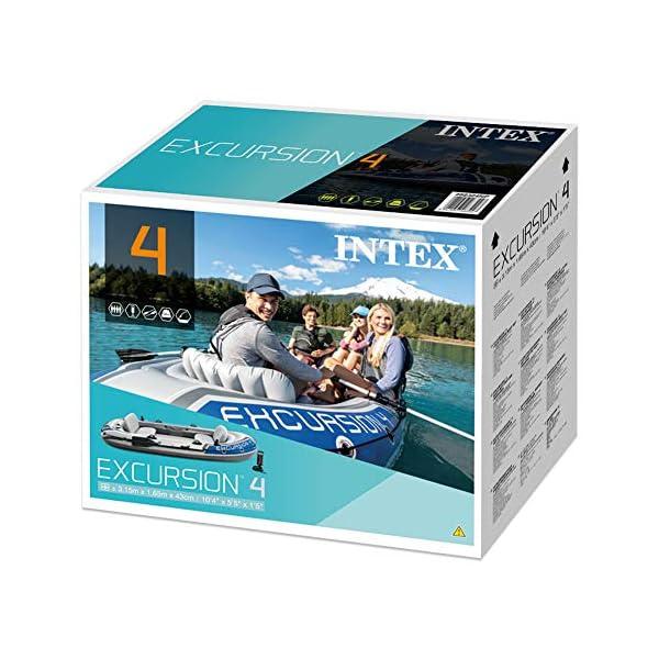 51UZBR6pFML Intex Excursion 4 Set Schlauchboot - 315 x 165 x 43 cm - 3-teilig - Grau / Blau