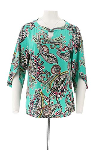 Susan Graver Printed Liquid Knit Top Keyhole Spearmint Combo M New A303325