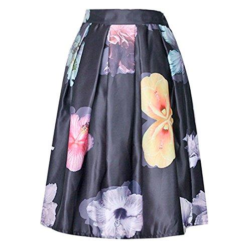 Mujer Elegante Floral Impresa Alta Cintura Plisada Midi Dia De Fiesta Retro Faldas Jupe Negro
