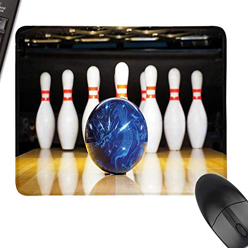 Bowling Party Decorations Rectangle Mouse Pads Blue Abstract Ball on Lane Pins Close Up View Sports Leisure Game Laptop Desk Mat, Waterproof Desk Writing Pad 11.8