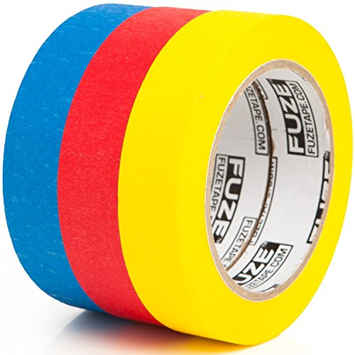 Cyber Monday Colored Masking Tape Craft Set - 3 PACK [1 in x 40 yrd rolls] - Multi Colored Variety Kit - Assorted Color Coded & Fun DIY Art Supplies- Kids ages 2, 3, 4, 5, 6, 8, 9, 10 (Kit Case 2 Tapes)