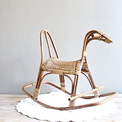 Toddlers Cane Art Rattan Rocking Horse Chair For Kids